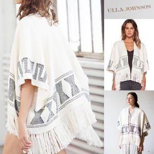 Ulla Johnson New fringe designer wrap print poncho